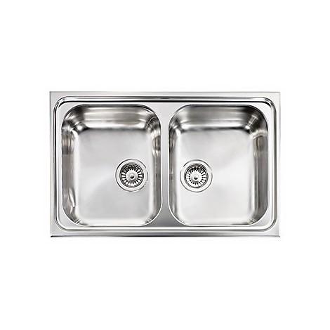 """010012 cm lavello inox cristal 3"""" 79x50 2 vasche"""