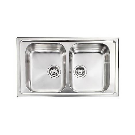 """010014 cm lavello inox cristal 3"""" 86x50 2 vasche"""