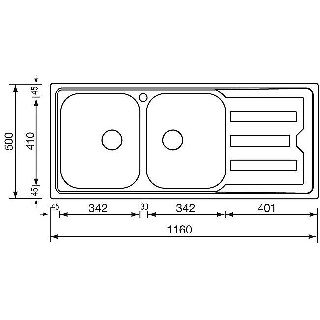 """010017 cm lavello inox cristal 3"""" 116x50 2 vasche a destra"""