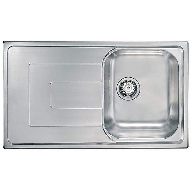 """010143 cm lavello inox como 3"""" 86x50 1 vasca a destra"""