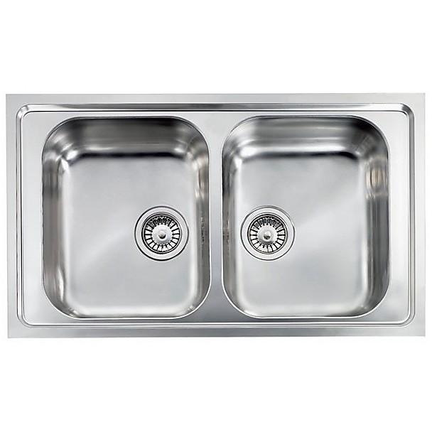 """010144 cm lavello inox como 3"""" 86x50 2 vasche"""