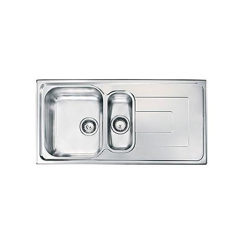 """010145 cm lavello inox como 3"""" 100x50 2 vasche 2 fori con piletta automatica"""