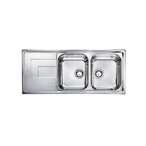 """010147 cm lavello inox como 3"""" 116x50 2 vasche 2 fori con piletta automatica"""
