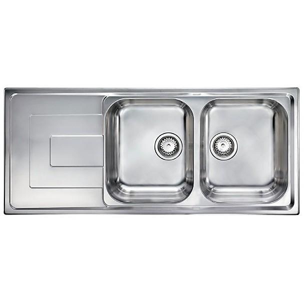 """010147 cm lavello inox como 3"""" 116x50 2 vasche a destra"""