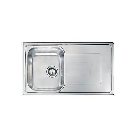 """010173 cm lavello inox como 3"""" 86x50 1 vasca preforato 2 fori con piletta automatica"""