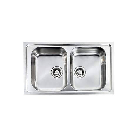 """010174 cm lavello inox como 3"""" 86x50 2 vasche 2 fori con piletta automatica"""