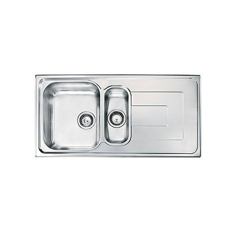 """010175 cm lavello inox como 3"""" 100x50 2 vasche 2 fori con piletta automatica"""