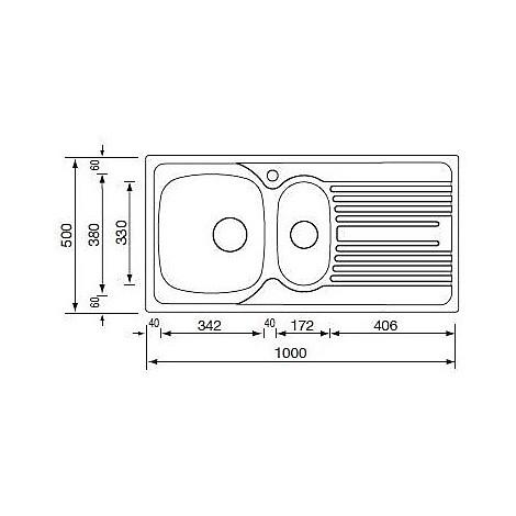 "010355 cm lavello inox atlantic 3"" 100x50 2 vasche a destra monopezzo"