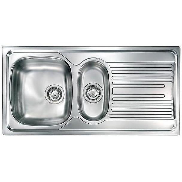 """010355 cm lavello inox atlantic 3"""" 100x50 2 vasche a sinistra monopezzo"""