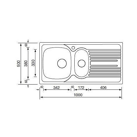 "010395 cm lavello inox atlantic 3"" 100x50 2 vasche a destra monopezzo antigraffio"