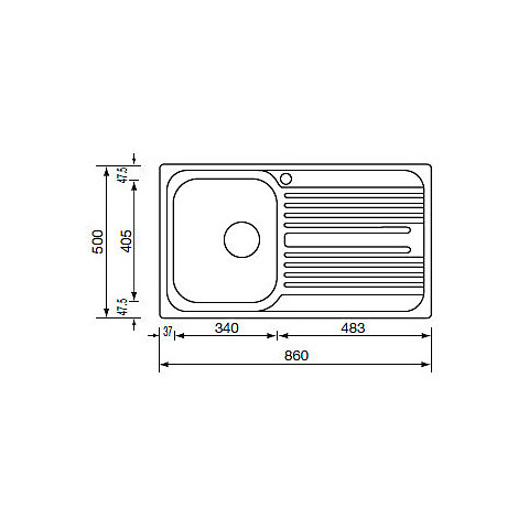 "010543 cm lavello inox atlantic 3"" 86x50 1 vasca a destra"