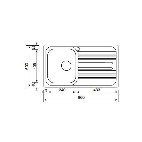 "010543 cm lavello inox atlantic 3"" 86x50 1 vasca a sinistra"
