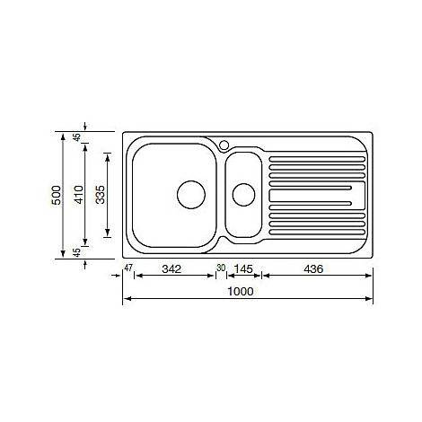 "010545 cm lavello inox atlantic 3"" 100x50 2 vasche a sinistra"