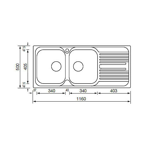 "010547 cm lavello inox atlantic 3"" 116x50 2 vasche a destra"
