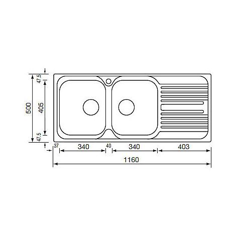 "010547 cm lavello inox atlantic 3"" 116x50 2 vasche a sinistra"