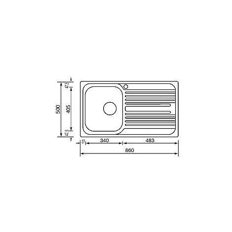 "010593 cm lavello inox atlantic 3"" 86x50 1 vasca a sinistra antigraffio"