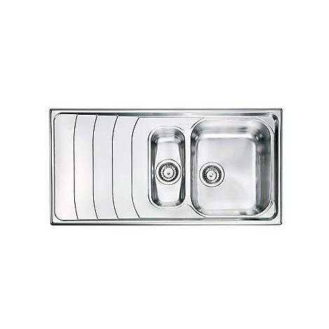 "010745 cm lavello inox battigia 3"" 100x50 2 vasche a destra"