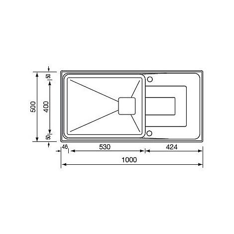 """010806 cm lavello inox vesta 3"""" 100x50 1 vasca preforato 2 fori con piletta automatica"""