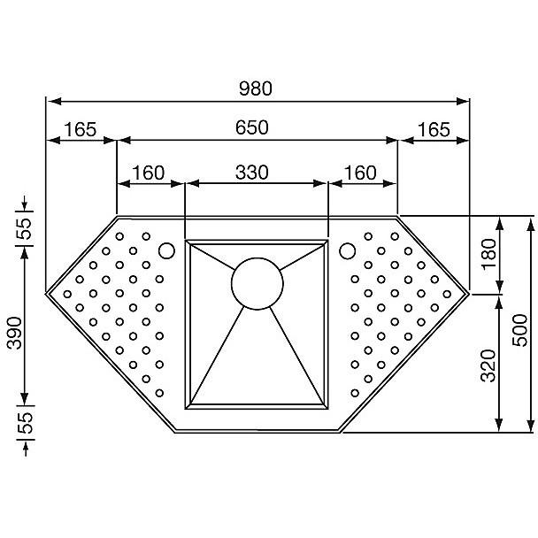 """010902 cm lavello inox punto quadro 3"""" 98x50 1 vasca preforato 2 fori con piletta automatica"""