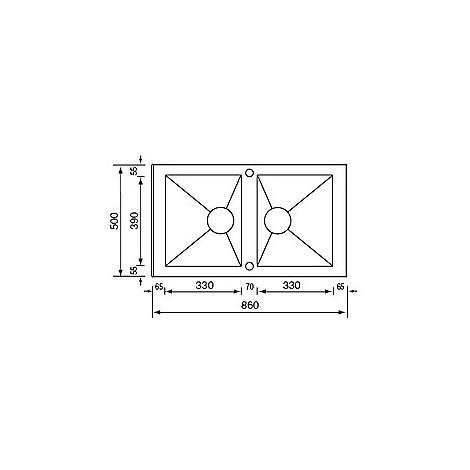 """010904 cm lavello inox punto quadro 3"""" 86x50 2 vasche 2 fori con piletta automatica"""
