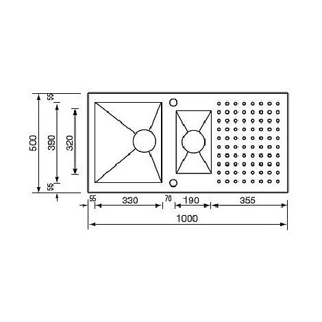 """010905 cm lavello inox punto quadro3"""" 100x50 2 vasche 2 fori con piletta automatica"""