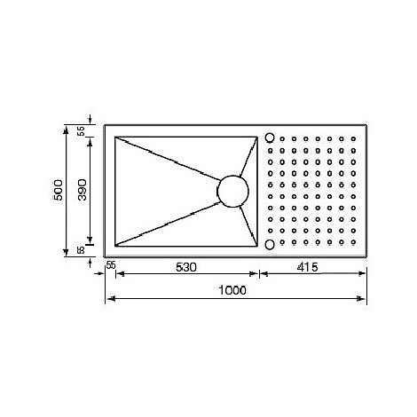 """010906 cm lavello inox punto quadro3"""" 100x50 1 vasca preforato 2 fori con piletta automatica"""