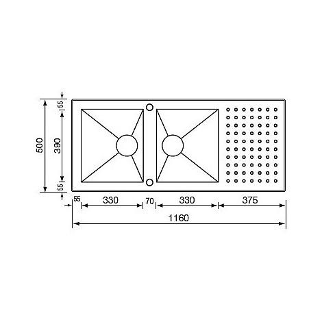 """010907 cm lavello inox punto quadro3"""" 116x50 2 vasche 2 fori con piletta automatica"""