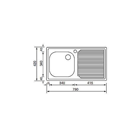 011011 cm lavello inox aurora 79x42 1 vasca a sinistra