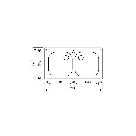 011012 cm lavello inox aurora 79x42 2 vasche