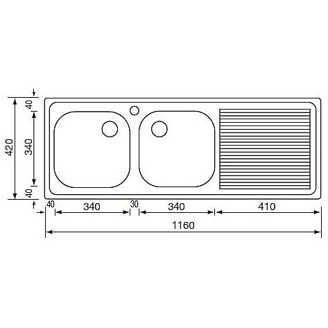 011017 cm lavello inox aurora 116x42 2 vasche a sinistra