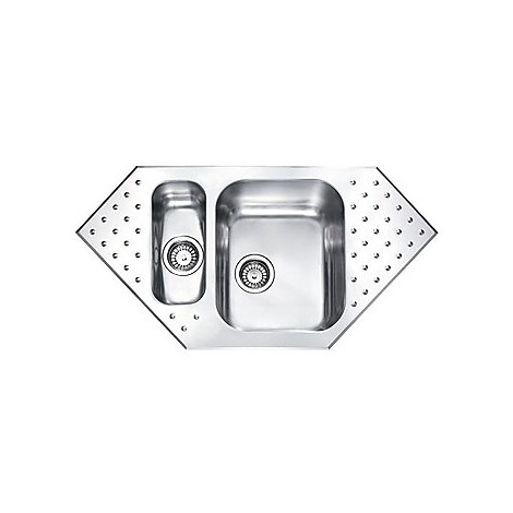 """011102 cm lavello inox punto plus 3"""" 98x50 2 vasche a destra 2 fori con piletta automatica"""