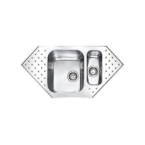 """011102 cm lavello inox punto plus 3"""" 98x50 2 vasche a sinistra 2 fori con piletta automatica"""