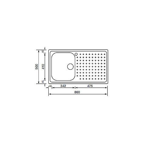 "011103 cm lavello inox punto plus 3"" 86x50 1 vasca a destra"
