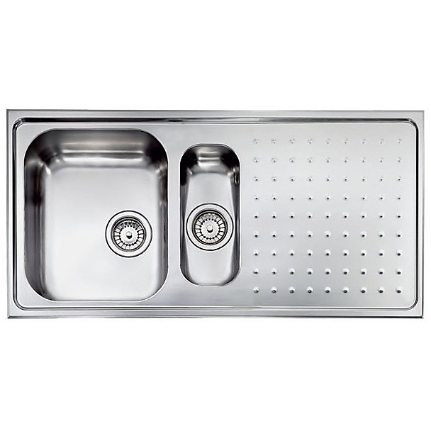 "011105 cm lavello inox punto plus 3"" 100x50 2 vasche a sinistra"