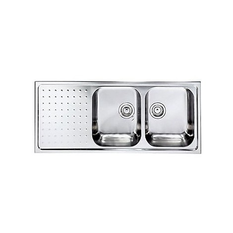 "011107 cm lavello inox punto plus 3"" 116x50 2 vasche a destra"