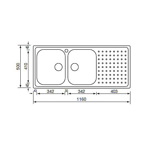 "011107 cm lavello inox punto plus 3"" 116x50 2 vasche a sinistra"