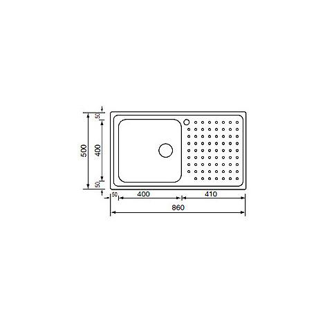 "011113 cm lavello inox punto plus 3"" 86x50 1 vasca a destra con vasca 400x400"