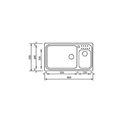 "011114 cm lavello inox punto plus 3"" 86x50 2 vasche a destra con vasca 400x500 + 230x330"