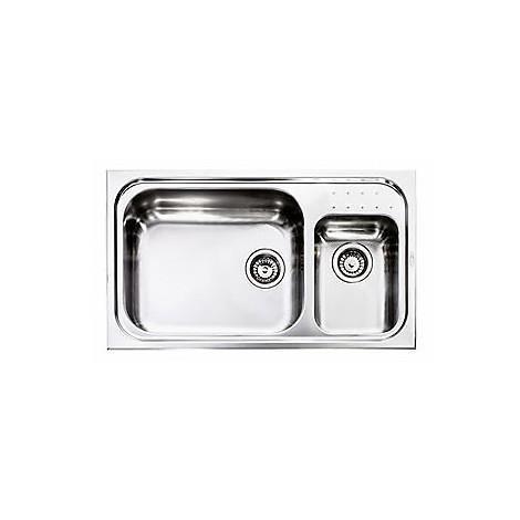 "011114 cm lavello inox punto plus 3"" 86x50 2 vasche a sinistra con vasca 400x500 + 230x330"