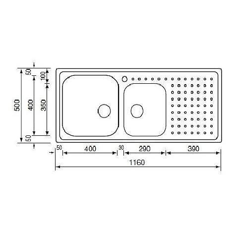 "011117 cm lavello inox punto plus 3"" 116x50 2 vasche a destra con vasca 400x400 + 290x350"