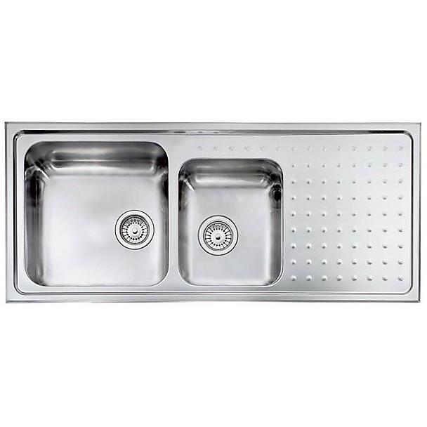 "011117 cm lavello inox punto plus 3"" 116x50 2 vasche a sinistra con vasca 400x400 + 290x350"