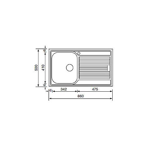 "011223 cm lavello inox zenith 210 3"" 86x50 1 vasca a destra"