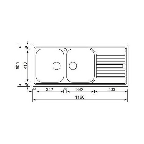 """011247 cm lavello inox zenith 3"""" 116x50 2 vasche a destra"""