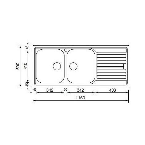 """011247 cm lavello inox zenith 3"""" 116x50 2 vasche a sinistra"""