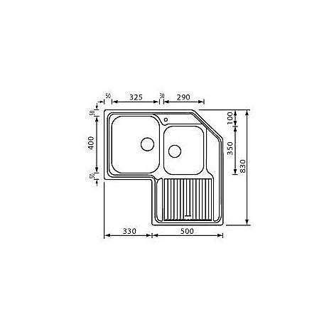 """011248 cm lavello inox zenith 3"""" angolo 2 vasche a sinistra"""