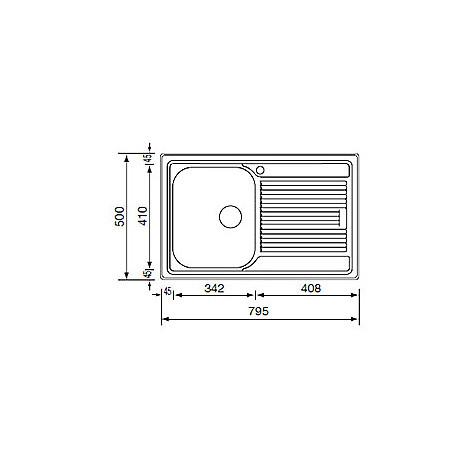 """011271 cm lavello inox zenith 3"""" 79x50 1 vasca a destra microdecoro"""