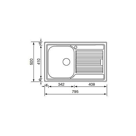 "011291 cm lavello inox zenith 3"" 79x50 1 vasca a sinistra antigraffio"