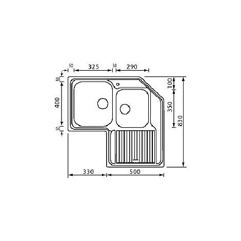"""011298 cm lavello inox zenith 3"""" angolo 2 vasche a sinistra antigraffio"""