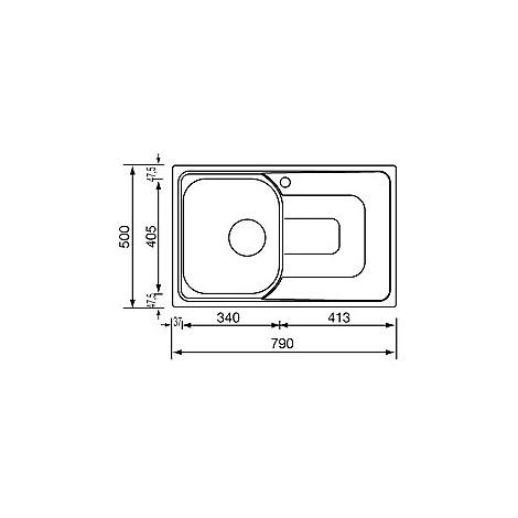 "011341 cm lavello inox pizzica 3"" 79x50 1 vasca a destra"