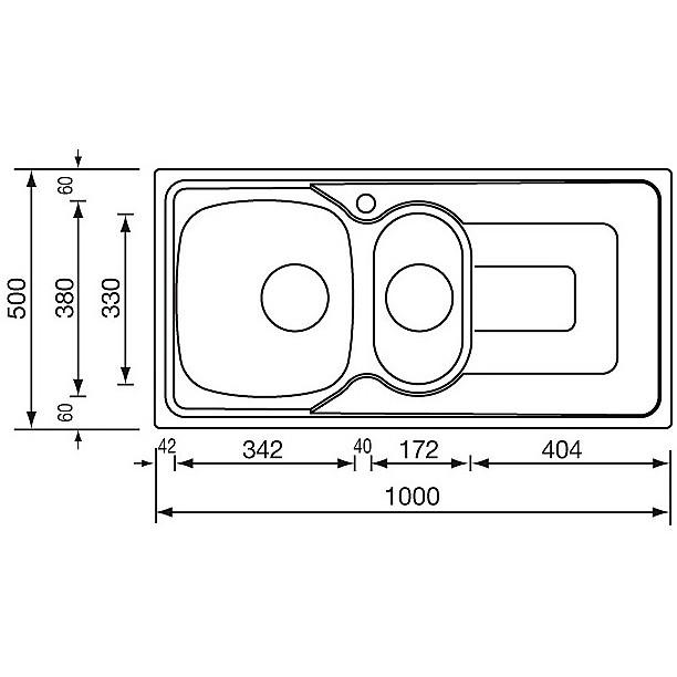 """011345 cm lavello inox pizzica 3"""" 100x50 2 vasche a destra"""